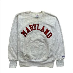 🍎Maryland State Embroidered Logo Crewneck(Fits M)